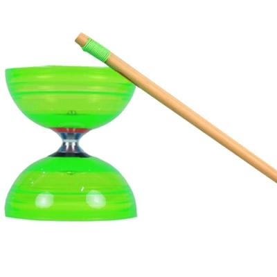 三鈴SUNDIA-台灣製造-炫風長軸三培鈴扯鈴(附木棍、扯鈴專用繩)綠色