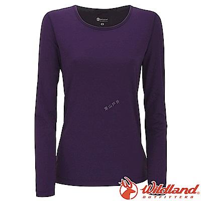 Wildland 荒野 W2653-80藍紫色 女遠紅外線保暖U領衛生衣