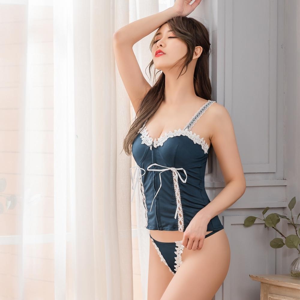 Sexy Cynthia 馬甲 深藍交叉綁帶馬甲丁字褲二件組-藍F