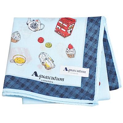 Aquascutum 風格時尚品牌風衣鈕扣圖騰字母LOGO帕領巾(水藍系)