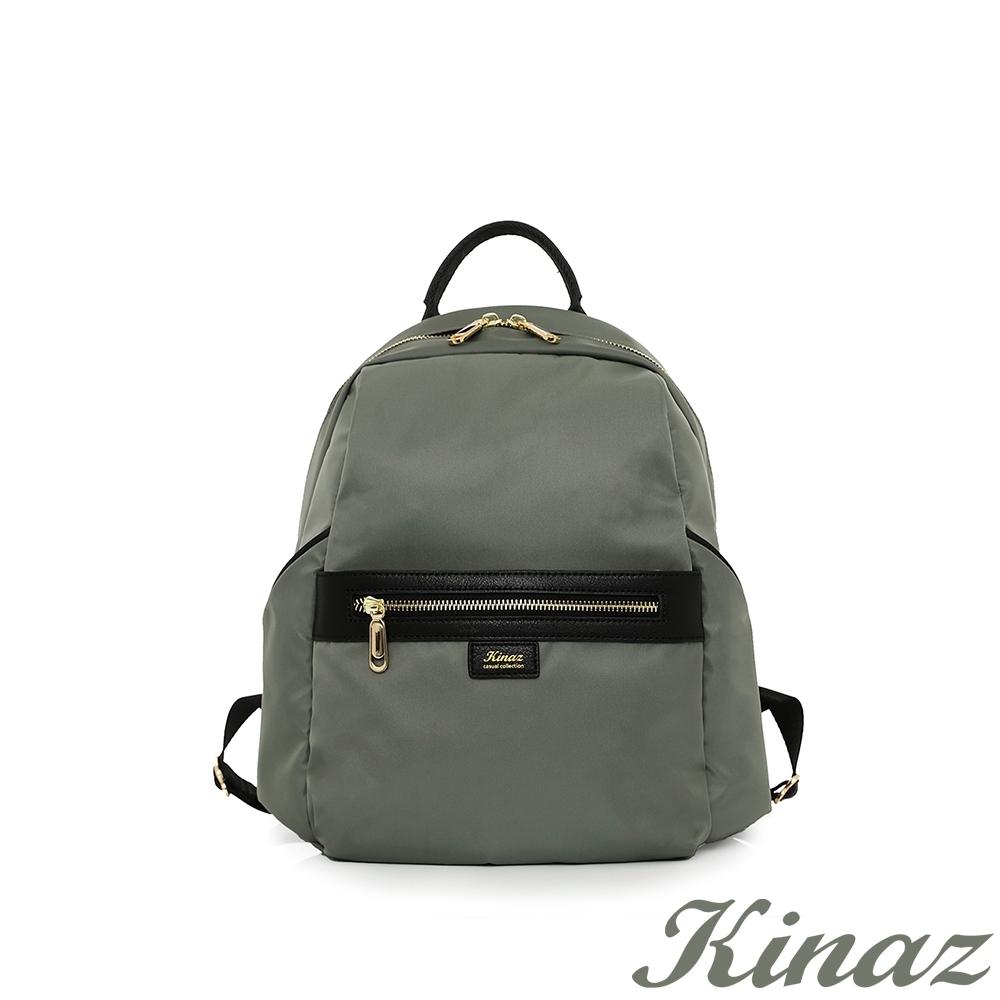 KINAZ casual 大容量防潑水手提後背包-率性軍綠-輕甜漫遊系列