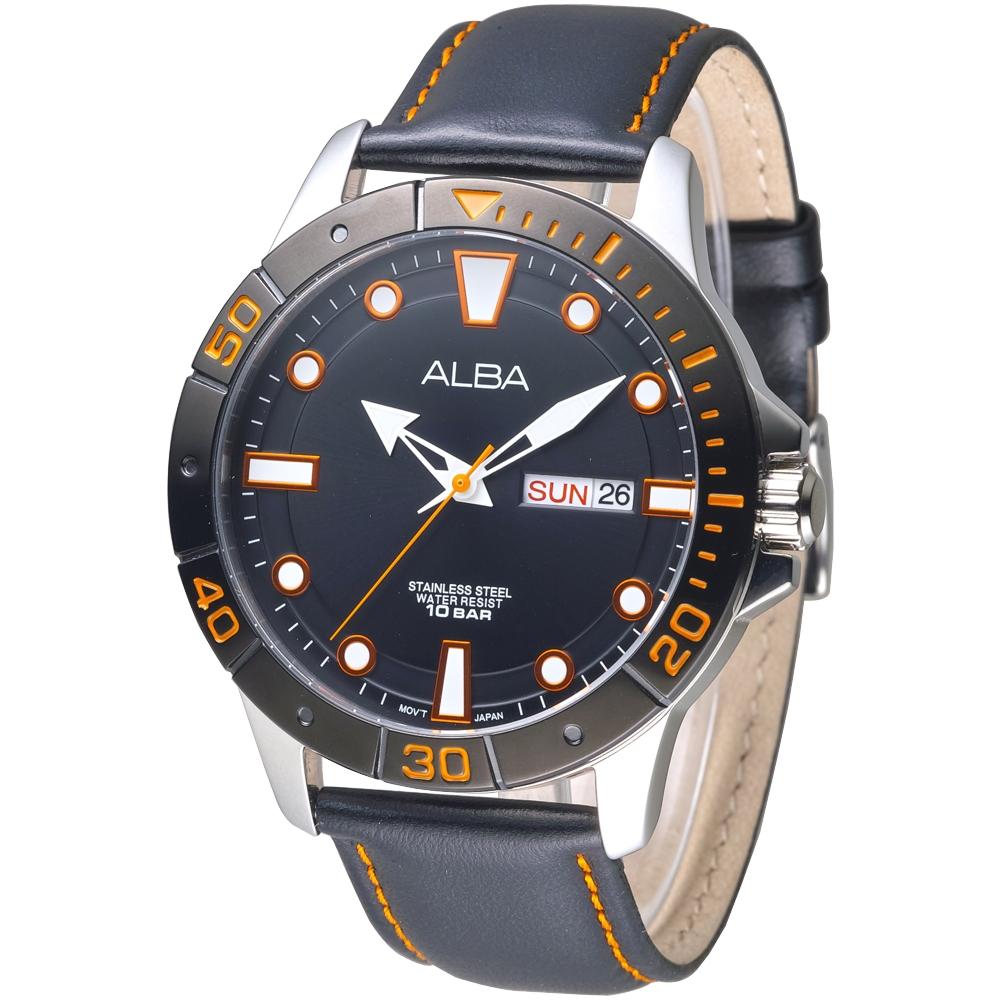 ALBA雅柏手錶 都會風時尚運動造型男錶-IP黑錶框(AT2045X1)/45mm 保固二年
