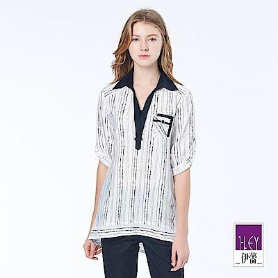 ILEY伊蕾 率性條紋印花上衣(白)