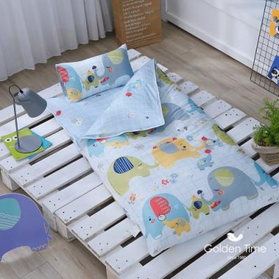GOLDEN-TIME-大象豐年祭-200織紗精梳棉兒童睡袋(藍)