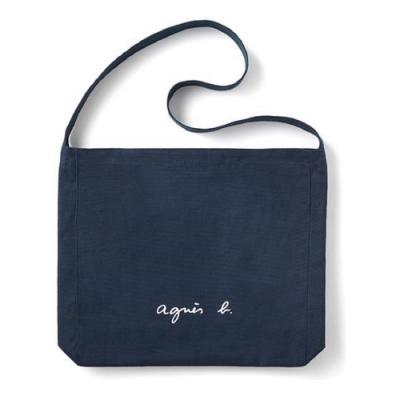 agnes b. Voyage 白色LOGO帆布肩背包 (深藍)