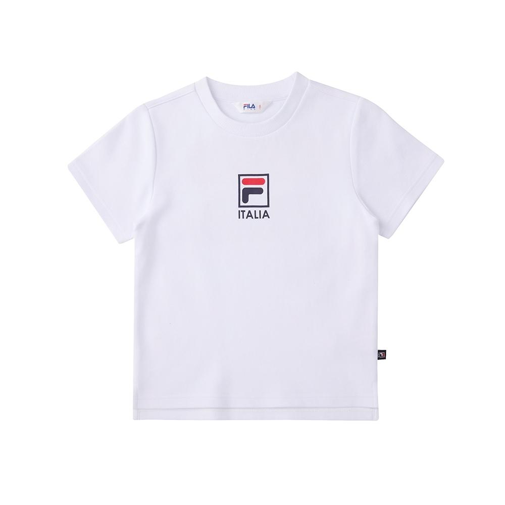 FILA KIDS 短袖圓領T恤-白 1TEU-8502-WT