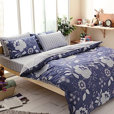 FOCA藝術家園-加大-100%精梳純棉四件式兩用被床包組