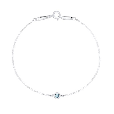 Tiffany&Co. Elsa Peretti 0.6克拉圓形海藍寶石純銀手鍊