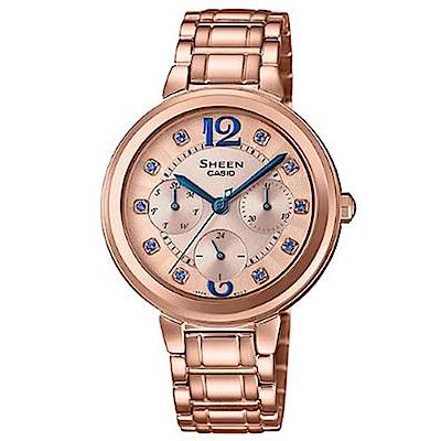 SHEEN 華麗之美水晶時刻玫瑰金腕錶-藍指針(SHE-3048PG-7B)/34mm