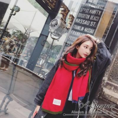A-Surpriz  四邊雙色拼接厚織長版圍巾(紅)