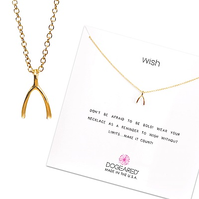 Dogeared 許願骨 金色項鍊 Wishbone Necklace 附原廠禮盒