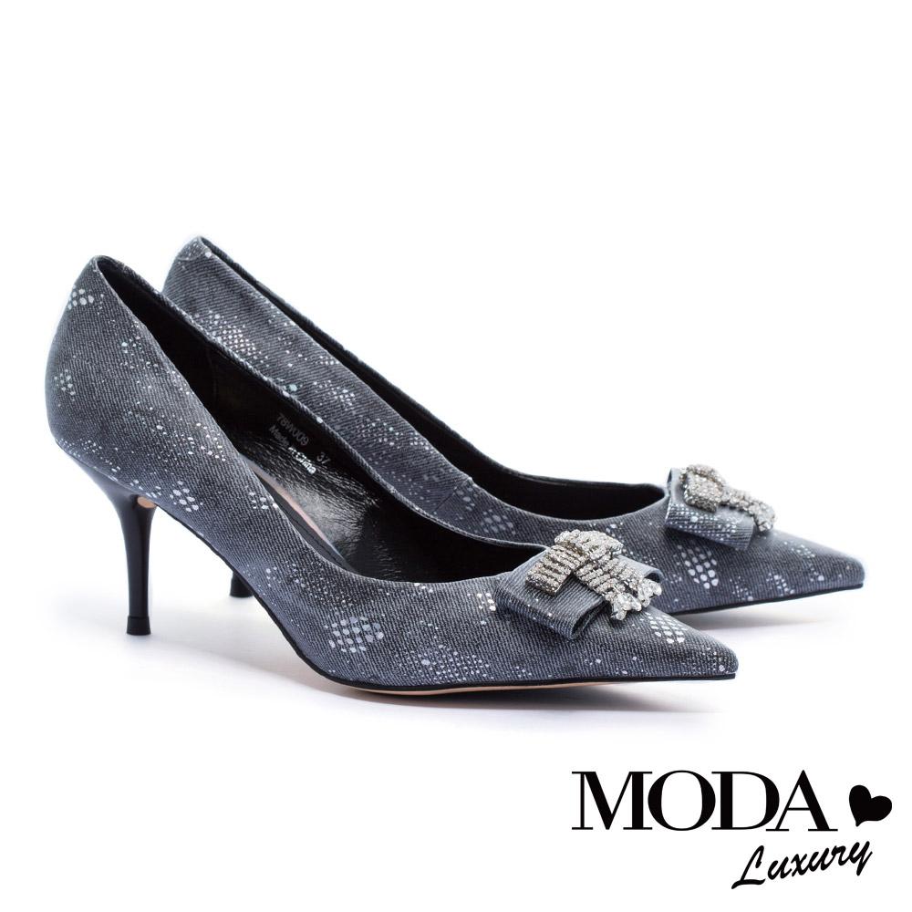 高跟鞋 MODA Luxury 超絕美華麗水鑽飾釦細高跟鞋-灰
