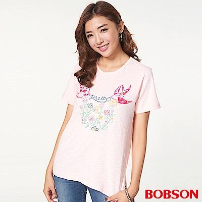 BOBSON 女款刺繡寬版上衣