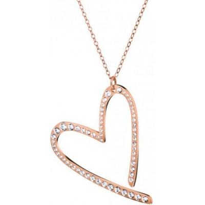 CALVIN KLEIN Joyous 系列心型愛戀玫瑰金水晶項鍊
