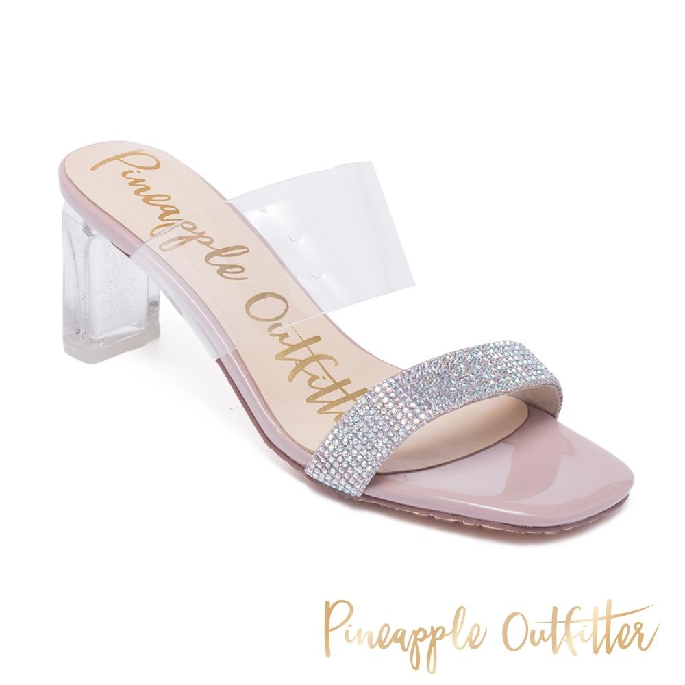 Pineapple Outfitter-ROSALYN 亮鑽透明寬帶高跟拖鞋-粉色