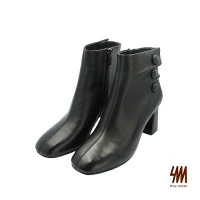 SM-優雅柔軟舒適素面羊皮高跟中筒靴-黑色 (兩色)