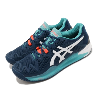 Asics 網球鞋 Gel-Resolution 8 男鞋 亞瑟士 Clay 紅土專用 緩衝 亞瑟膠 藍 橘 1041A076401