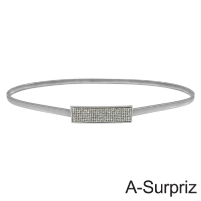 A-Surpriz 滿鑽長方形金屬彈性腰鍊(銀)