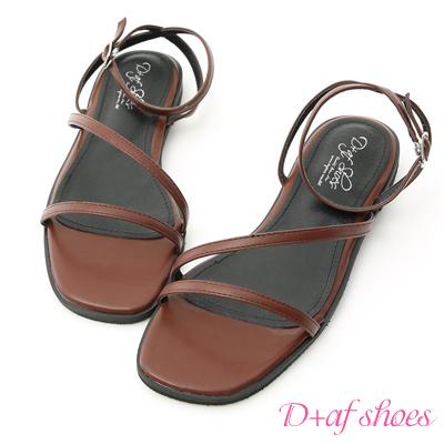 D+AF 完美品味.一字斜帶繫踝平底涼鞋*棕