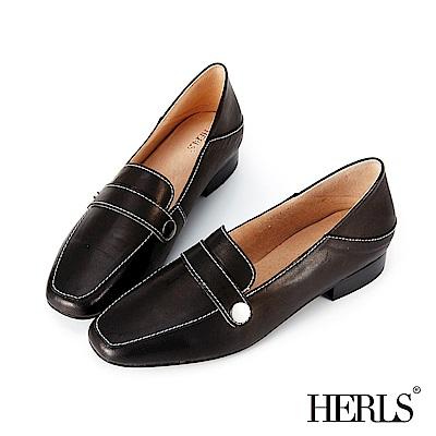 HERLS 氣質都會 全真皮縫線圓釦兩穿樂福鞋-黑色