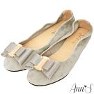 Ann'S甜蜜物語-立體雙層蝴蝶結全真皮平底娃娃鞋-灰
