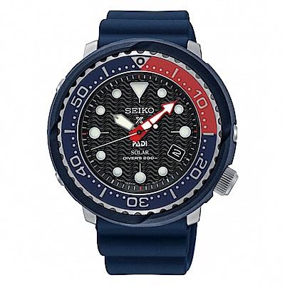 SEIKO PROSPEX PADI聯名太陽能潛水橡膠腕錶/V157-0CX0B/SNE4