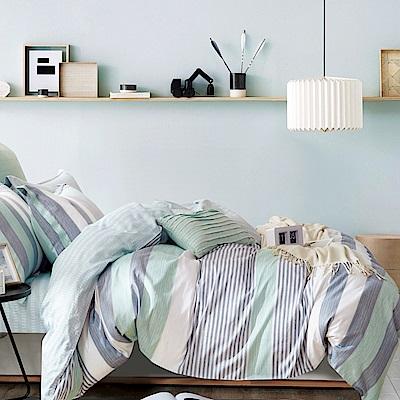 La Lune 台灣製40支精梳純棉新式兩用被雙人加大床包五件組 綠光花園