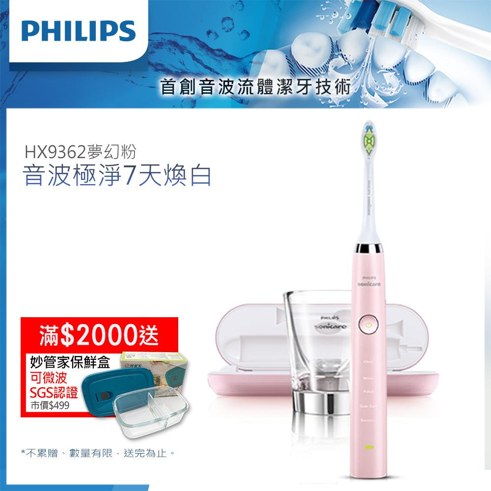[送保鮮盒+咖啡機]【Philips飛利浦】鑽石靚白音波震動牙刷/電動牙刷HX9362(粉)