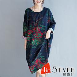 圓領花朵印花長袖寬鬆棉麻洋裝 (花色)-4inSTYLE形設計