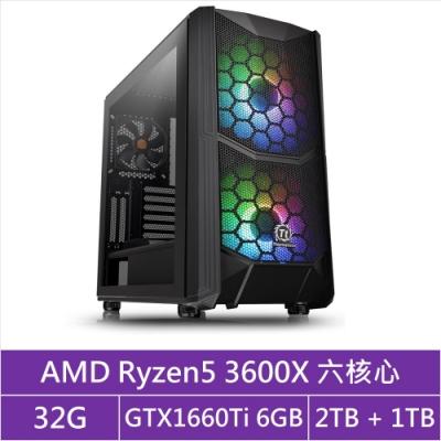 (無卡分期12期)華碩X570平台[馭神夢魘]R5六核GTX1660Ti獨顯電玩機