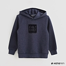 Hang Ten -童裝 - 純色LOGO印花連帽長袖上衣 - 藍
