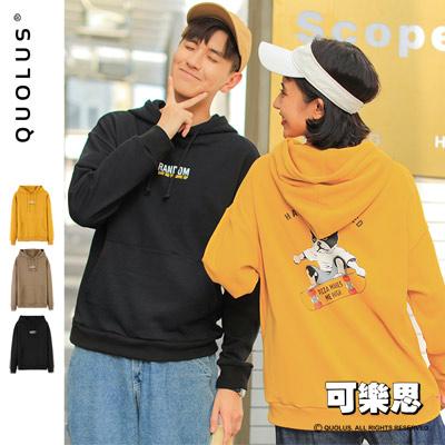 可樂思 滑板狗 逗趣 卡通 男生連帽長袖T恤