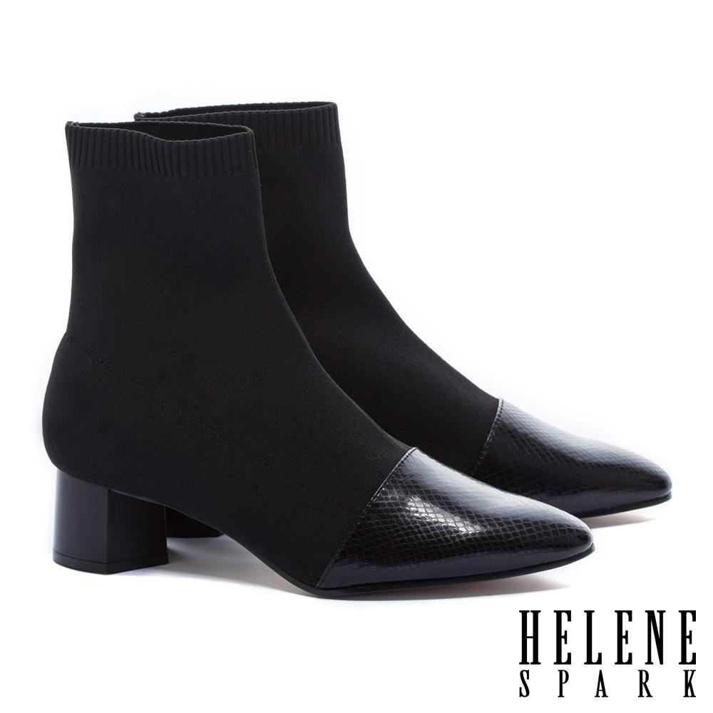 襪靴 HELENE SPARK 簡約摩登時尚蛇紋異材質拼接高跟彈力襪靴-黑