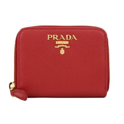 PRADA SAFFIANO 防刮皮革金屬字母拉鍊零錢包(紅色)