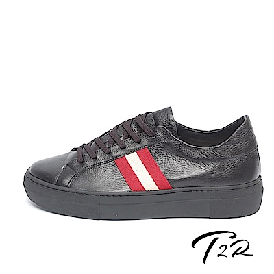 【T2R】全真皮簡約線條綁帶隱形內增高鞋-增高6.5公分-黑