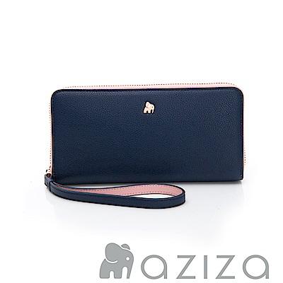 AZIZA  拉鏈長夾-藍