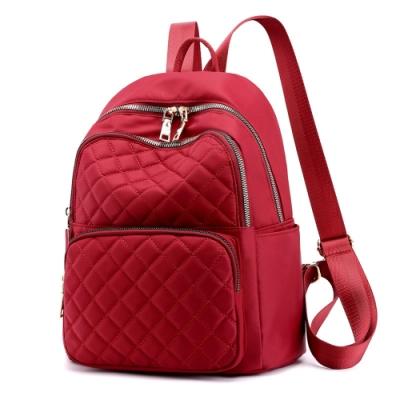I.Dear-韓版時尚立體菱格紋雙肩拉鍊肩背後背包BG124(紅色)