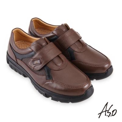 A.S.O 機能休閒 勁步健康魔鬼氈商務休閒鞋-咖啡