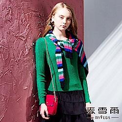 【麥雪爾】知性典雅羅紋針織上衣-綠