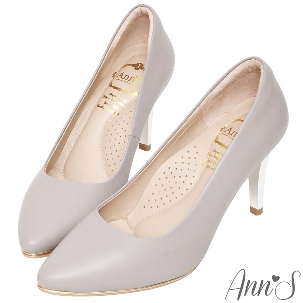 Ann'S優雅韻味-頂級小羊皮夾心電鍍銀跟尖頭鞋-紫灰