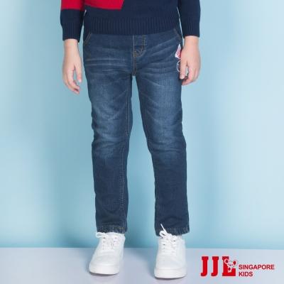JJLKIDS 柔軟舒適刺繡圖拼貼內刷毛牛仔褲(牛仔藍)