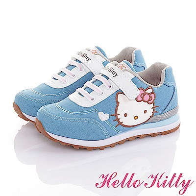 HelloKitty 牛仔布系列 輕量減壓抗菌防臭休閒慢跑童鞋-水
