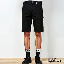 鬼洗 BLUE WAY 潮流鬼洗-牛仔拼接工作褲(黑)