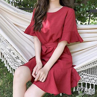 荷葉袖魚尾連身洋裝 酒紅色(贈綁帶)-mini嚴選