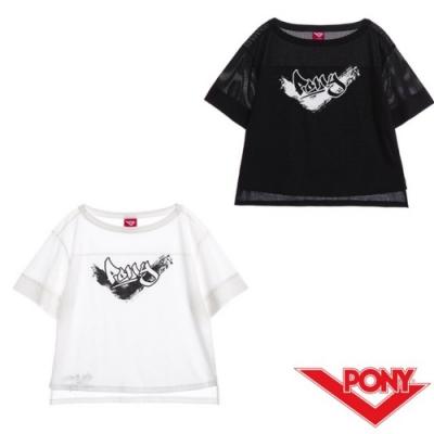 【PONY】LOGO短袖上衣T恤-女款-黑 白