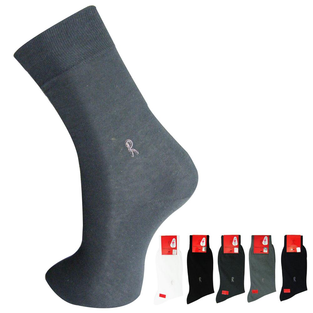 Roberta 諾貝達 素色精梳棉刺繡紳士襪/西裝襪~10雙