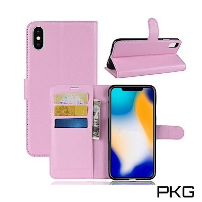 PKG Apple IPhone XS MAX 側翻式皮套-經典皮套系列-粉色