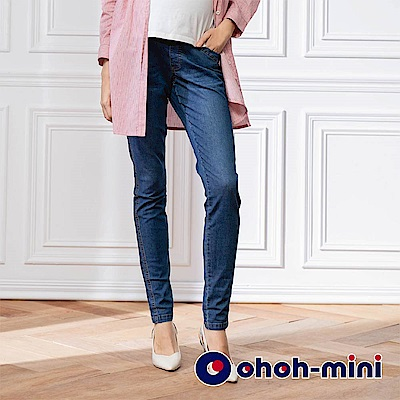 【ohoh-mini 孕婦褲】超彈力顯瘦牛仔長褲