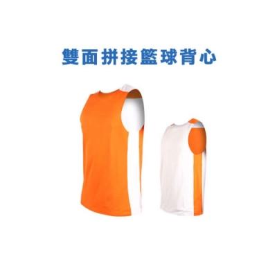 INSTAR 男女 雙面剪接籃球背心 橘白