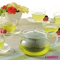 日本HARIO茶茶急須一壺六杯盤組(附濾網茶壺750ml、茶杯、茶盤)
